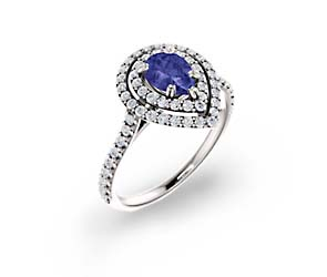 Double Halo Pear Shape Tanzanite Diamond Ring