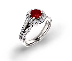 Ruby and Diamond Halo Ring 1.55 Carat Total Weight