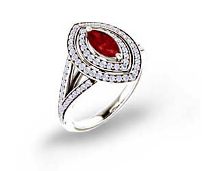Double Halo Split Shank Halo Ruby and Diamond Ring