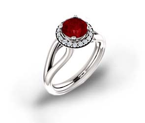 Bowed Split Shank Halo Ruby and Diamond Ring