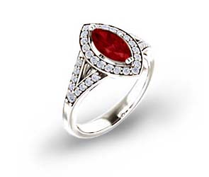 Marquise Split Shank Ruby and Diamond Halo Ring