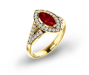 Marquise Split Shank Ruby and Diamond Halo Ring 1.0 Carat Total Weight