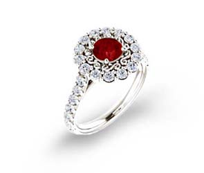 Floral Filigree Halo Ruby and Diamond Ring