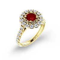 Floral Filigree Halo Ruby and Diamond Ring 2.04 Carat Total Weight