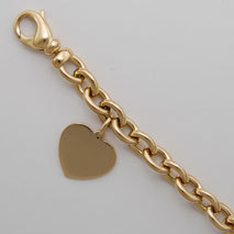 18K Yellow Gold Hollow Cable Bracelet 8.7mm, with Heart
