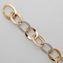 18K Yellow Gold / White Gold Flat Links Bracelet 13.7mm