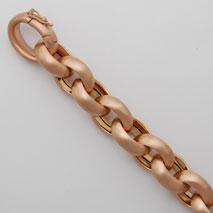 18K Rose Gold Hollow Cable Bracelet 13.1mm, Matte Finish