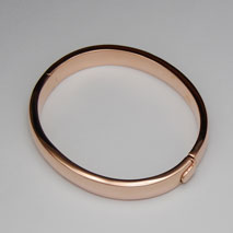 14K Rose Gold 10.0mm Flat Plain Bangle