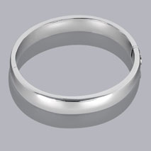 14K White Gold 10mm Plain Bangle