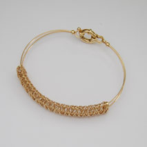14K Yellow Gold Wrapped Wire Bangle