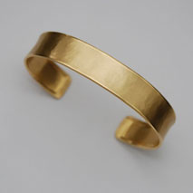 14K Yellow Gold Hammered Cuff Bangle, 12.0mm, Satin