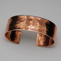 14K Rose Gold Hammered Cuff Bangle 19.0mm, Shiny
