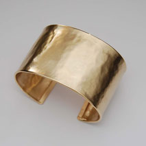 14K Yellow Gold Hammered Cuff Bangle, 37.0mm, Satin