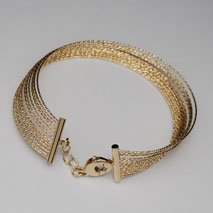14K Yellow Gold Sparkle Bangle, 14 Row With Clasp