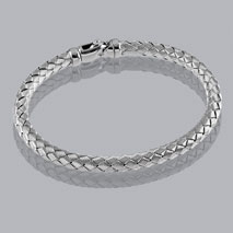 14K White Gold Braided Bangle 4.8mm