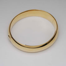 18K Yellow Gold Domed Bangle 15.0mm