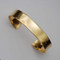 18K Yellow Gold Shiny Cuff Bangle Bracelet 12.0mm