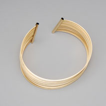 18K Yellow Gold Wire Cuff Bangle, 14 Row