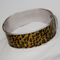 Sterling Silver Leopard Sparkle 20mm Hinged Bangle