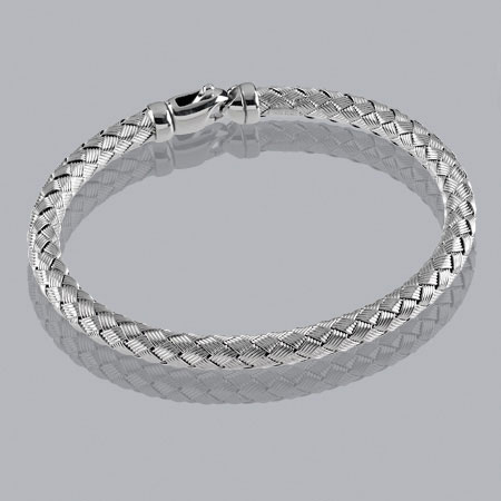 7-Inch 14K White Gold Braided Bangle 4.8mm
