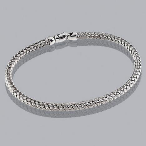 7-Inch 14K White Gold Braided Bangle 3.5mm