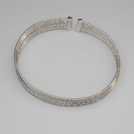 7-Inch 18K White Gold Sparkle Bangle Bracelet 7 Row