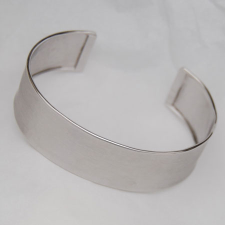 Sterling Silver 19.0mm Cuff Bangle, Hammered, Satin
