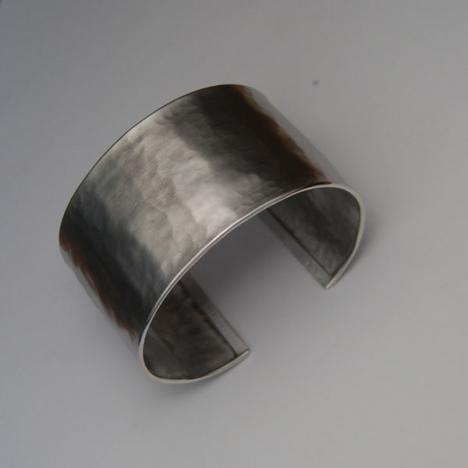 7-Inch Sterling Silver Hammered Satin Cuff Bracelet, 37.0mm