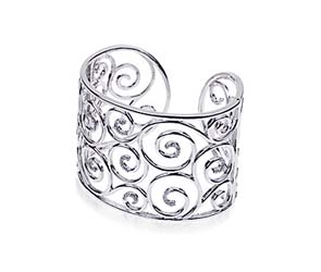 Sterling Silver Diamond Cuff Bracelett