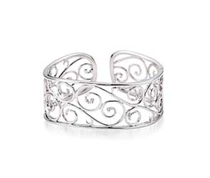 Sterling Silver Diamond Cuff Bracelet
