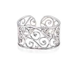 Sterling Silver 7 Inch Diamond Cuff Bracelet