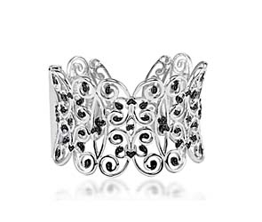 Sterling Silver Black Diamond Cuff Bracelet