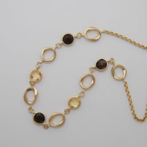 14K Yellow Gold Smoky Quartz & Citrine Link Bracelet