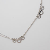 14K White Gold Double Rolo Bracelet w/ Hanging Hearts