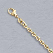 14K Yellow Gold Diamond Cut Cable Bracelet 3.00mm