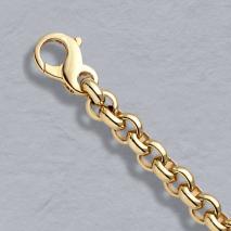 14K Yellow Gold Heavy Rolo Bracelet 6.5mm
