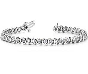 Classic S-shaped Light Diamond Bracelet