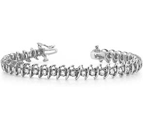 Swirl Link Illusion Diamond Tennis Bracelet