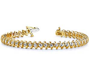 Diamond Swirl-Link Bracelet 5.04 Carat Total Weight