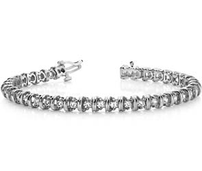 Wide Link Diamond Bracelet