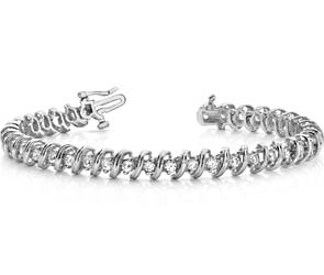 Faceted Spiral Link Diamond Bracelet