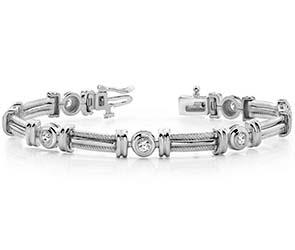 Two Tone Twisted Rope Diamond Bracelet