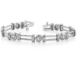 Parallel Twisted Rope Diamond Bracelet