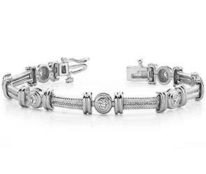 Twisted Rope Link Diamond Bracelet