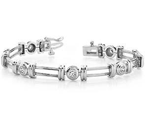 Solid Parallel Link Diamond Bracelet