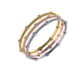 Tri Color  Beaded Collection Bangle