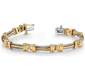 Mens Interlocking Cable Link Bracelet