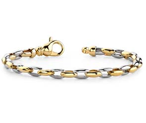 Two Tone Double Oval Link Bracelet