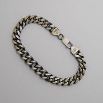 Sterling Silver Curb / Round Curb Bracelet 9.5mm, Gun Metal