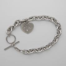 Sterling Silver Cable 8.5mm, Heart Charm, Toggle Clasp